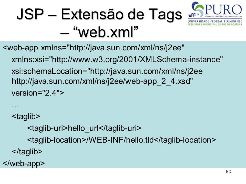 60 JSP – Extensão de Tags – web.xml <web-app xmlns=