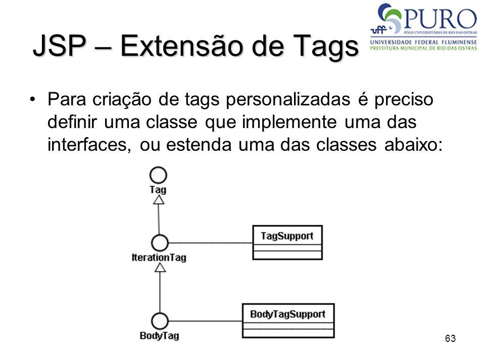 63 JSP – Extensão de Tags Para criação de tags personalizadas é preciso definir uma classe que implemente uma das interfaces, ou estenda uma das class