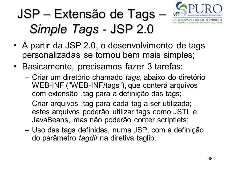 68 JSP – Extensão de Tags – Simple Tags - JSP 2.0 À partir da JSP 2.0, o desenvolvimento de tags personalizadas se tornou bem mais simples; Basicament