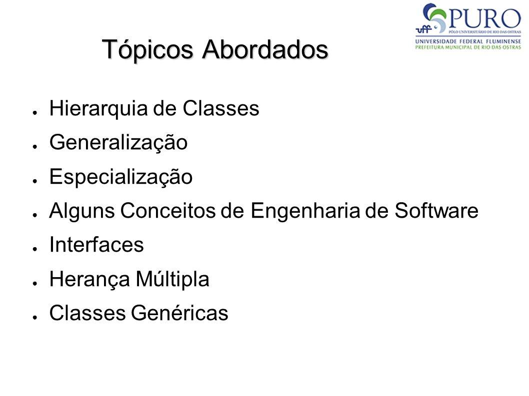 Tópicos Abordados Hierarquia de Classes Generalização Especialização Alguns Conceitos de Engenharia de Software Interfaces Herança Múltipla Classes Ge