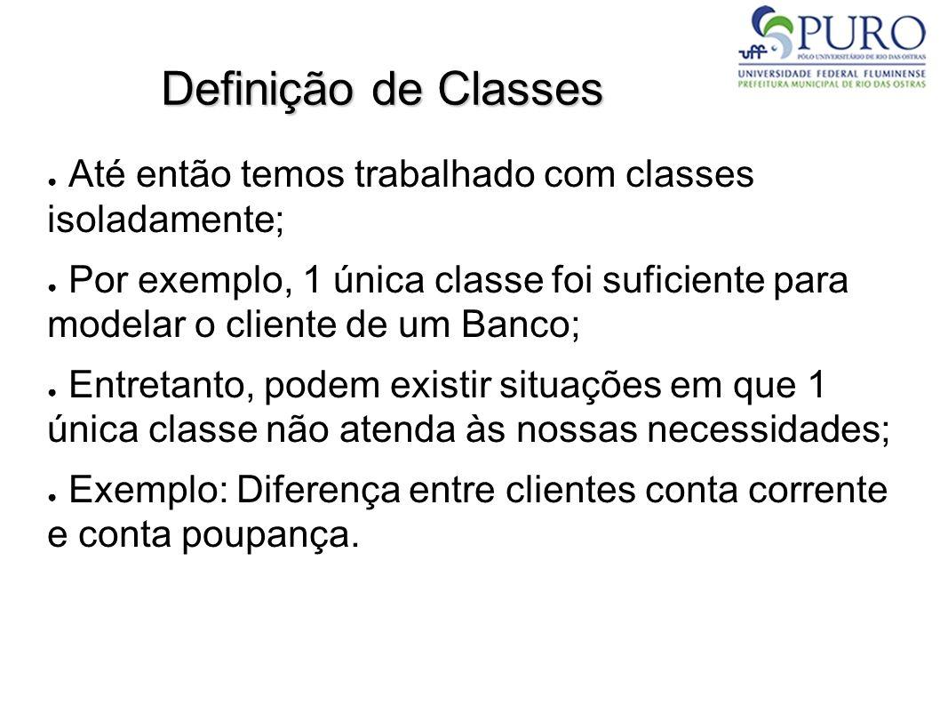 Definição de Classes Até então temos trabalhado com classes isoladamente; Por exemplo, 1 única classe foi suficiente para modelar o cliente de um Banc