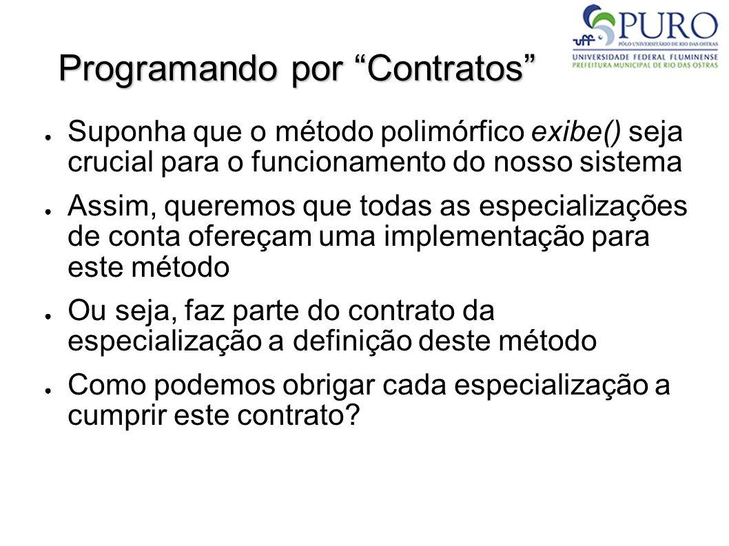 Programando por Contratos Suponha que o método polimórfico exibe() seja crucial para o funcionamento do nosso sistema Assim, queremos que todas as esp