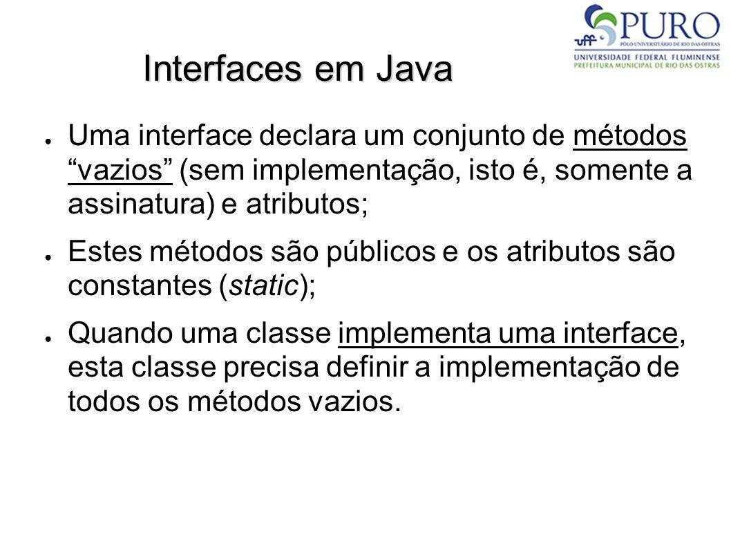 Interfaces em Java Uma interface declara um conjunto de métodos vazios (sem implementação, isto é, somente a assinatura) e atributos; Estes métodos sã