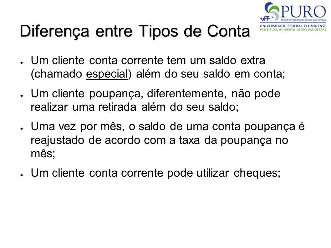 Diferença entre Tipos de Conta Um cliente conta corrente tem um saldo extra (chamado especial) além do seu saldo em conta; Um cliente poupança, difere