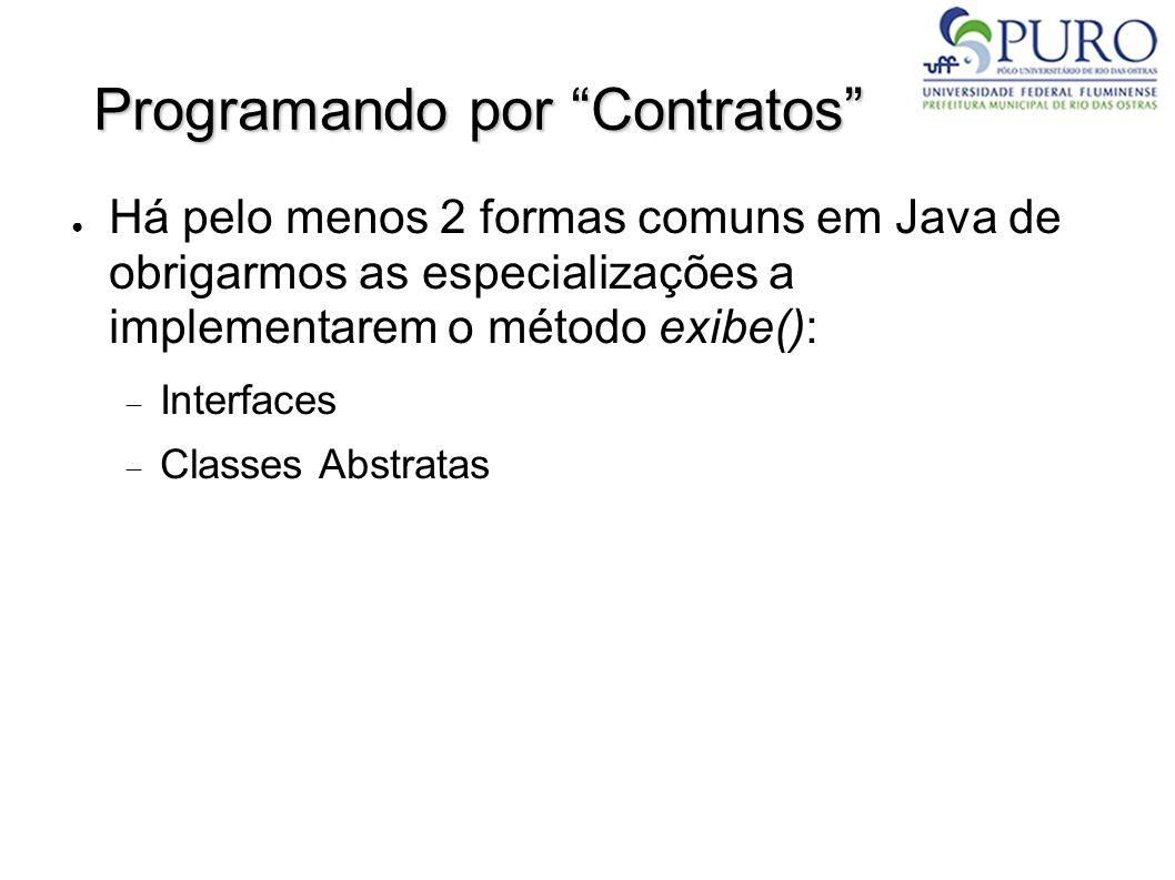 Programando por Contratos Há pelo menos 2 formas comuns em Java de obrigarmos as especializações a implementarem o método exibe(): Interfaces Classes