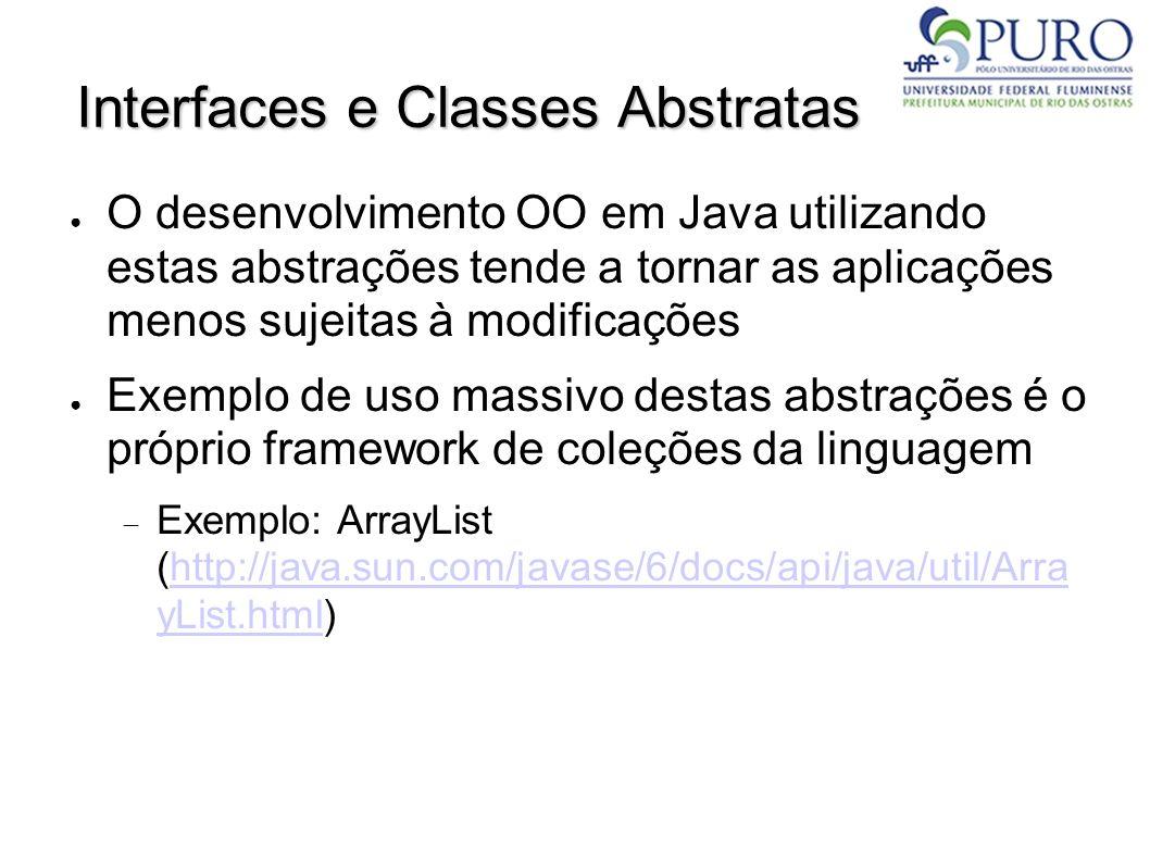Interfaces e Classes Abstratas O desenvolvimento OO em Java utilizando estas abstrações tende a tornar as aplicações menos sujeitas à modificações Exe
