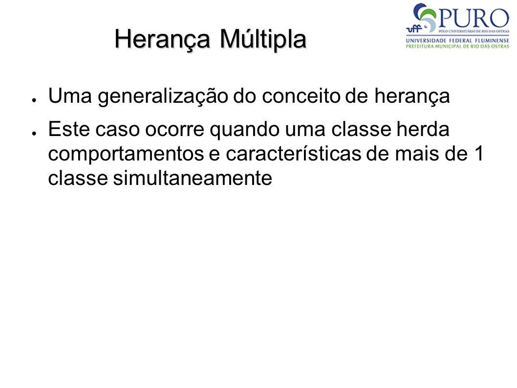 Herança Múltipla Uma generalização do conceito de herança Este caso ocorre quando uma classe herda comportamentos e características de mais de 1 class
