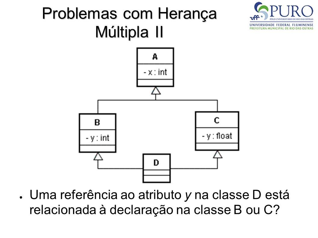 Problemas com Herança Múltipla II Uma referência ao atributo y na classe D está relacionada à declaração na classe B ou C?