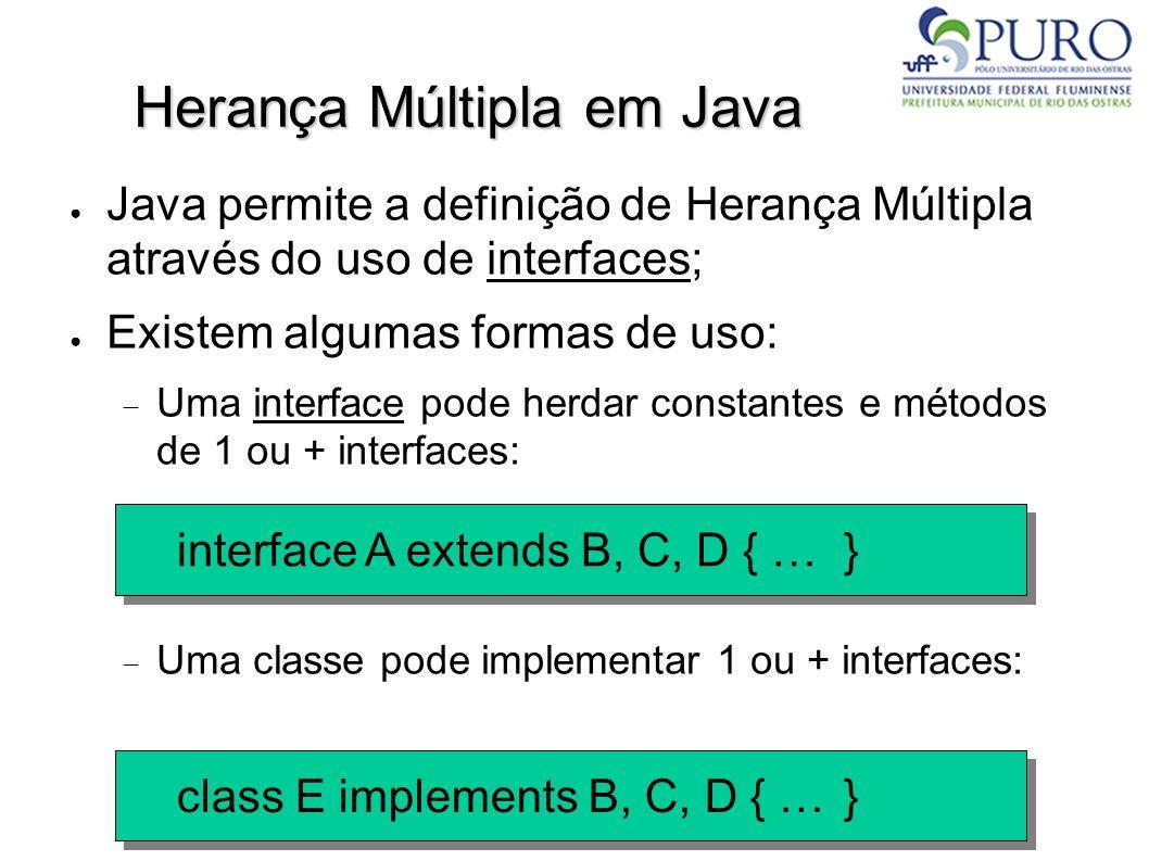 Herança Múltipla em Java Java permite a definição de Herança Múltipla através do uso de interfaces; Existem algumas formas de uso: Uma interface pode