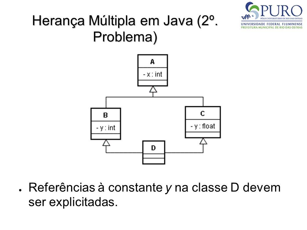 Herança Múltipla em Java (2º. Problema) Referências à constante y na classe D devem ser explicitadas.