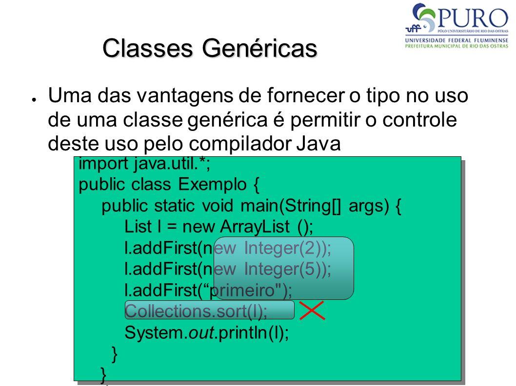 Classes Genéricas Uma das vantagens de fornecer o tipo no uso de uma classe genérica é permitir o controle deste uso pelo compilador Java import java.