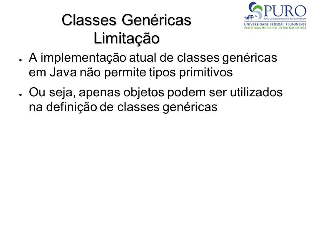 Classes Genéricas Limitação A implementação atual de classes genéricas em Java não permite tipos primitivos Ou seja, apenas objetos podem ser utilizad
