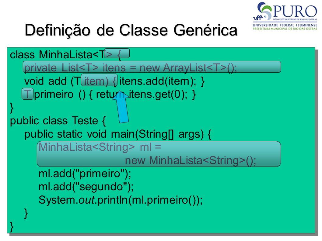 Definição de Classe Genérica class MinhaLista { private List itens = new ArrayList (); void add (T item) { itens.add(item); } T primeiro () { return i