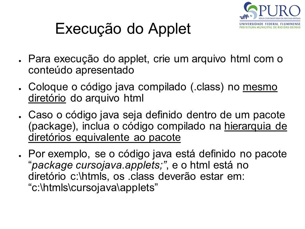 Execução do Applet Para execução do applet, crie um arquivo html com o conteúdo apresentado Coloque o código java compilado (.class) no mesmo diretóri