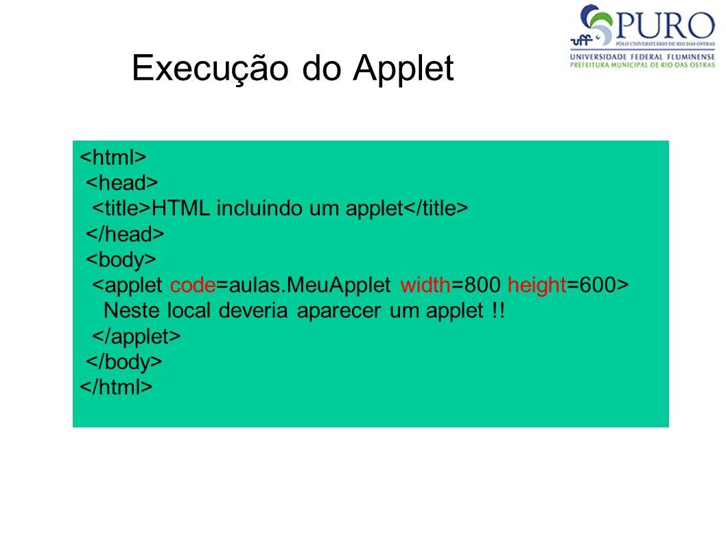 Execução do Applet HTML incluindo um applet Neste local deveria aparecer um applet !!