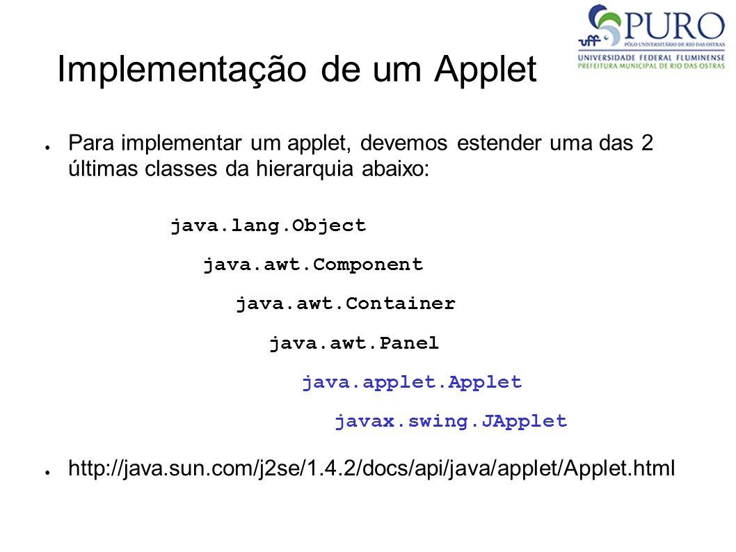 Implementação de um Applet Para implementar um applet, devemos estender uma das 2 últimas classes da hierarquia abaixo: java.lang.Object java.awt.Comp