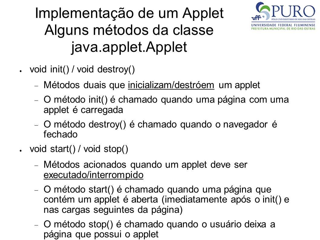 Implementação de um Applet Alguns métodos da classe java.applet.Applet void init() / void destroy() Métodos duais que inicializam/destróem um applet O