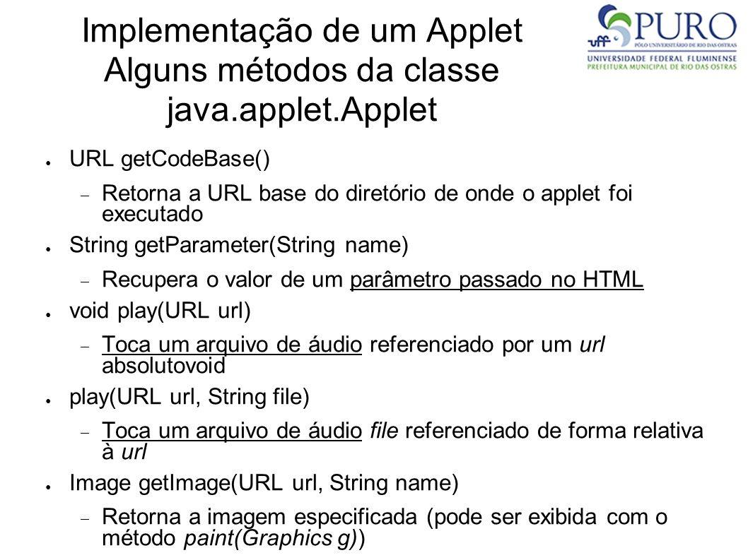 Implementação de um Applet Alguns métodos da classe java.applet.Applet URL getCodeBase() Retorna a URL base do diretório de onde o applet foi executad