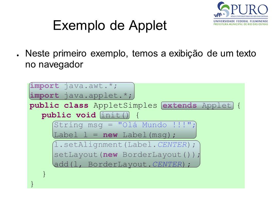 Exemplo de Applet Neste primeiro exemplo, temos a exibição de um texto no navegador import java.awt.*; import java.applet.*; public class AppletSimple