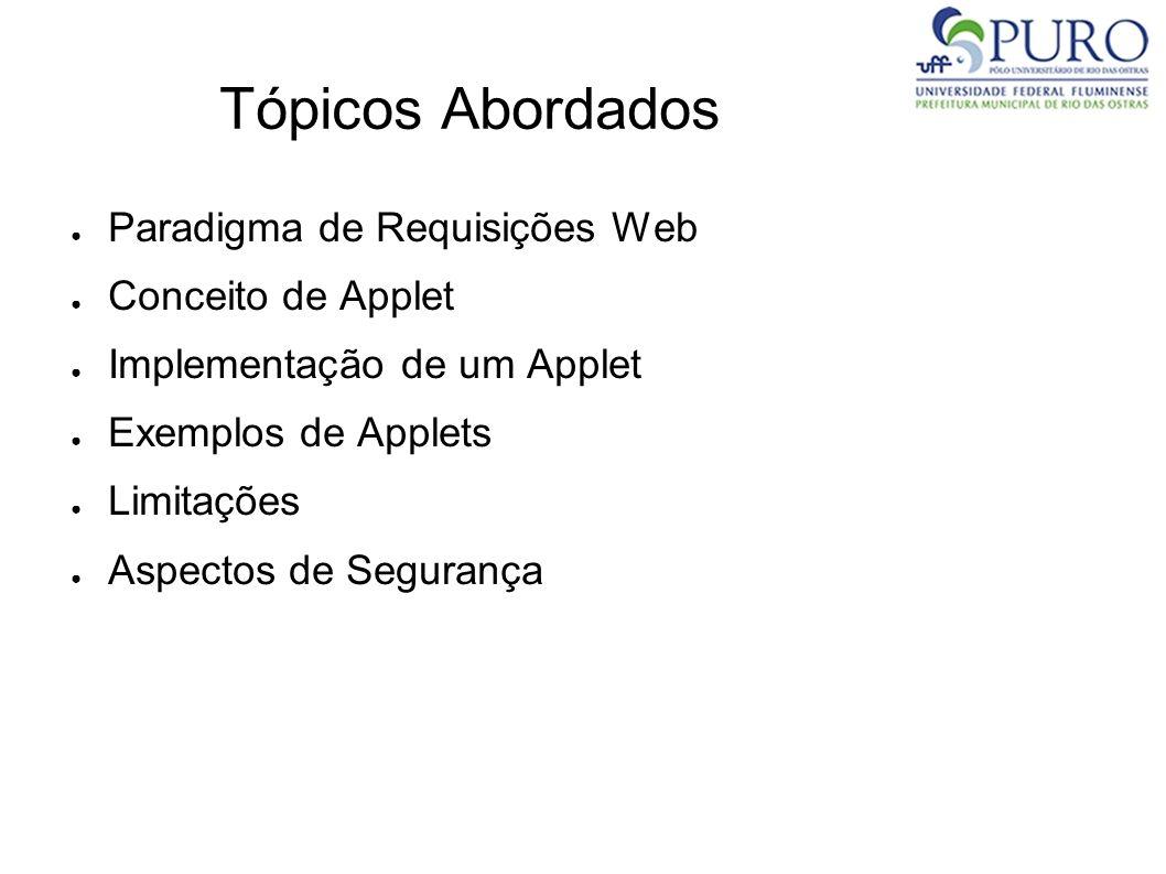 Tópicos Abordados Paradigma de Requisições Web Conceito de Applet Implementação de um Applet Exemplos de Applets Limitações Aspectos de Segurança