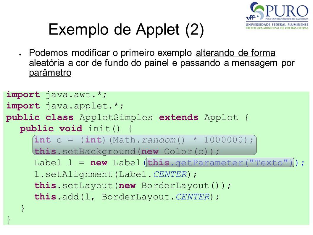 Exemplo de Applet (2) Podemos modificar o primeiro exemplo alterando de forma aleatória a cor de fundo do painel e passando a mensagem por parâmetro i