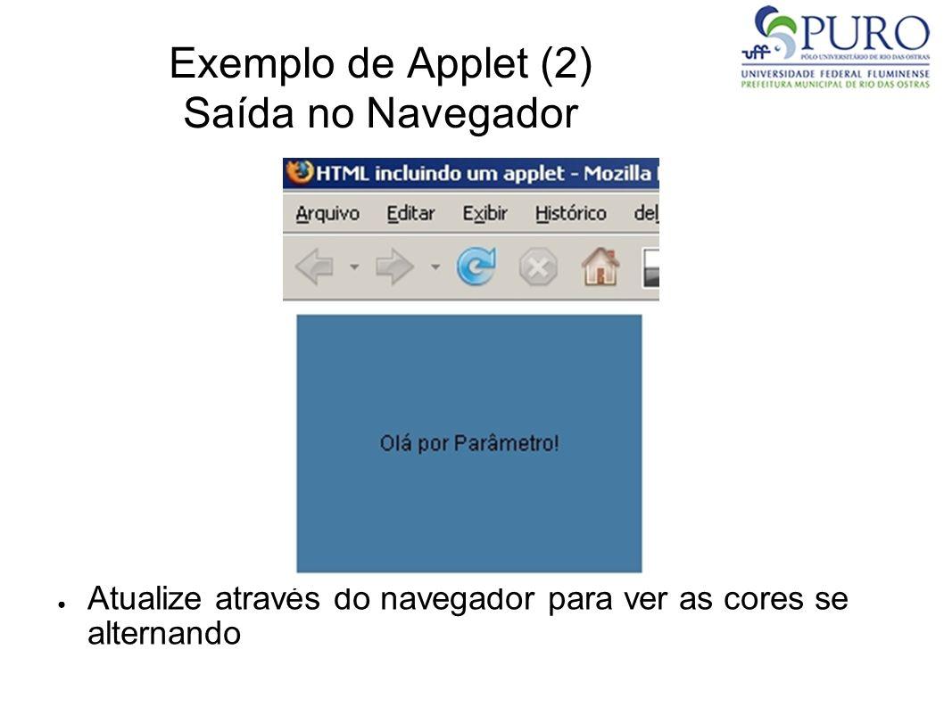 Exemplo de Applet (2) Saída no Navegador Atualize através do navegador para ver as cores se alternando