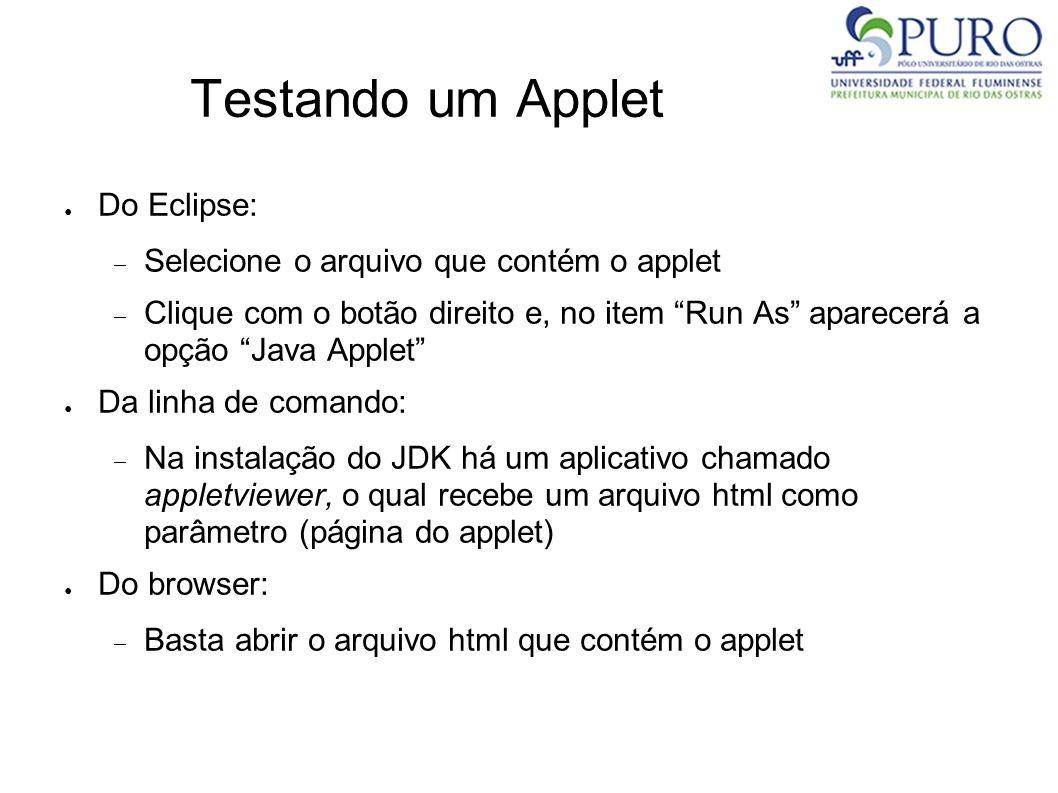 Testando um Applet Do Eclipse: Selecione o arquivo que contém o applet Clique com o botão direito e, no item Run As aparecerá a opção Java Applet Da l