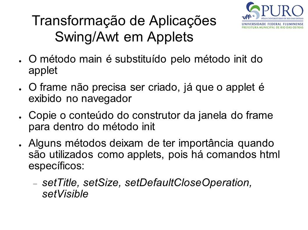 Transformação de Aplicações Swing/Awt em Applets O método main é substituído pelo método init do applet O frame não precisa ser criado, já que o apple