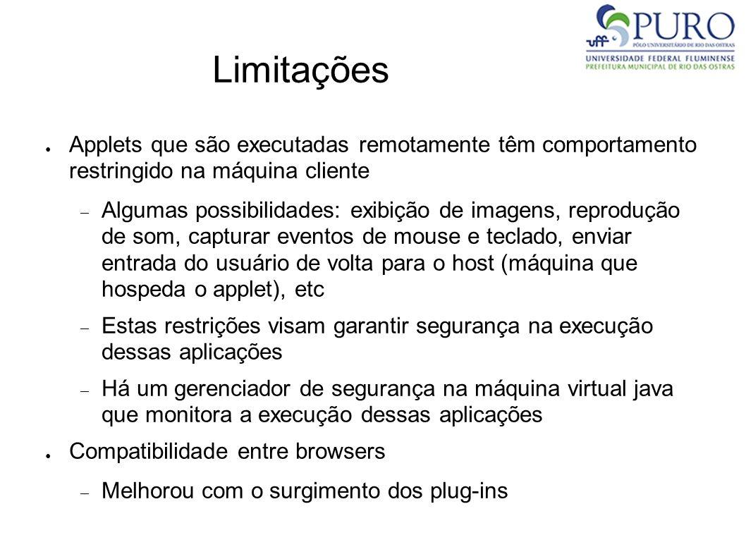 Limitações Applets que são executadas remotamente têm comportamento restringido na máquina cliente Algumas possibilidades: exibição de imagens, reprod