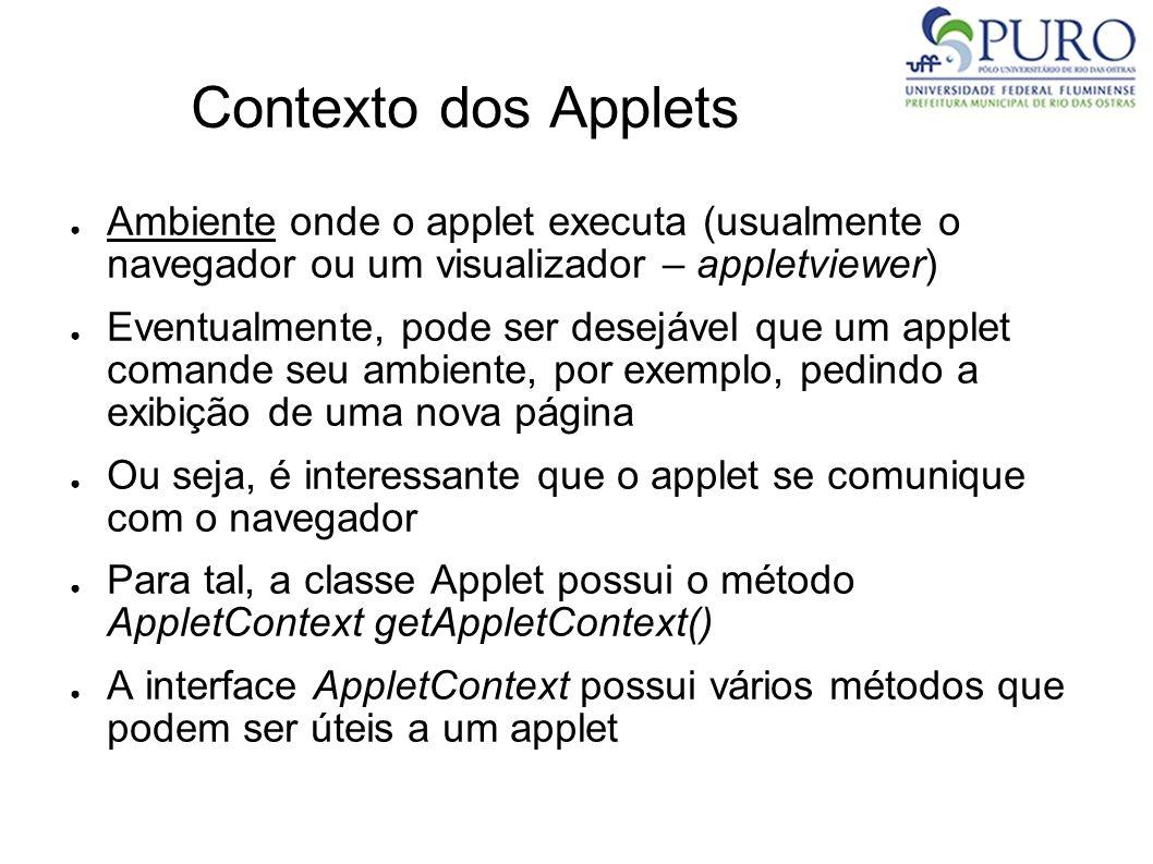 Contexto dos Applets Ambiente onde o applet executa (usualmente o navegador ou um visualizador – appletviewer) Eventualmente, pode ser desejável que u