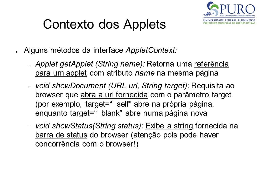 Contexto dos Applets Alguns métodos da interface AppletContext: Applet getApplet (String name): Retorna uma referência para um applet com atributo nam