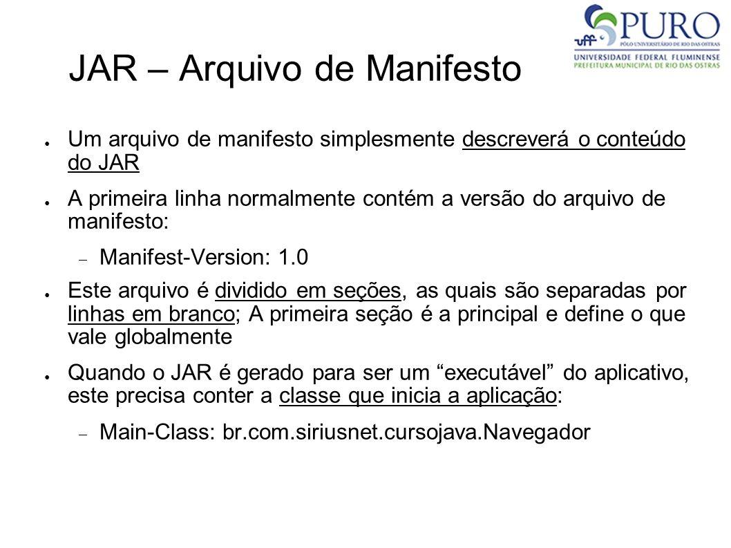 JAR – Arquivo de Manifesto Um arquivo de manifesto simplesmente descreverá o conteúdo do JAR A primeira linha normalmente contém a versão do arquivo d