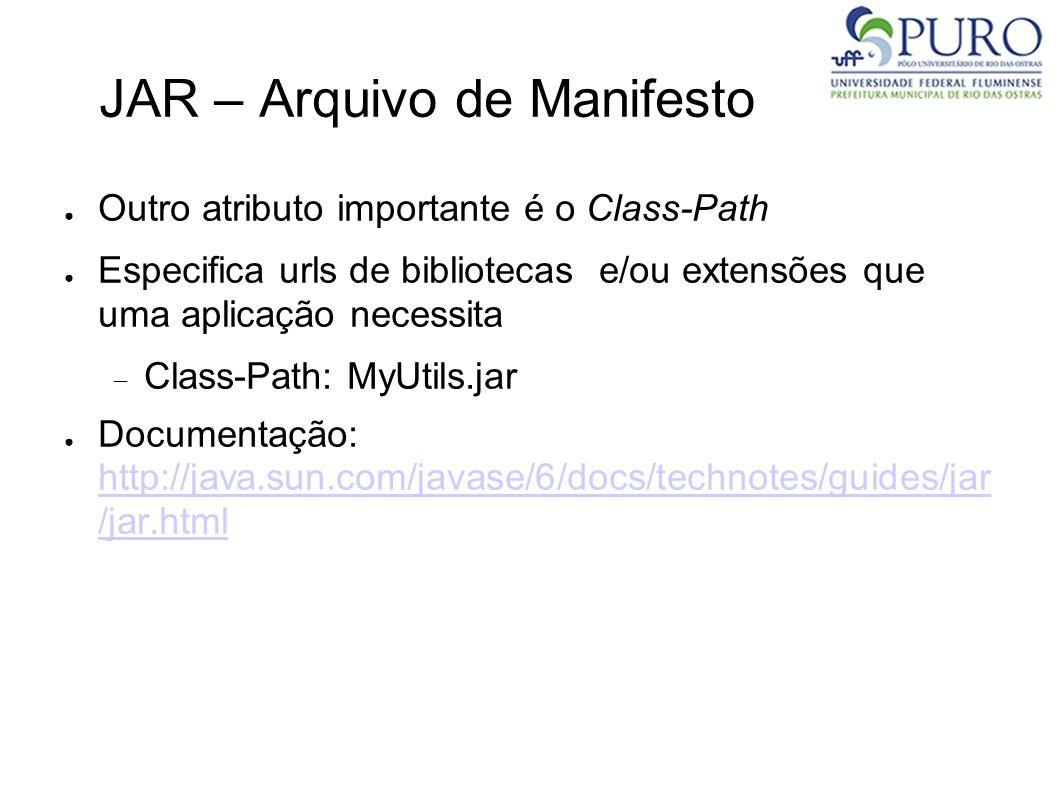 JAR – Arquivo de Manifesto Outro atributo importante é o Class-Path Especifica urls de bibliotecas e/ou extensões que uma aplicação necessita Class-Pa