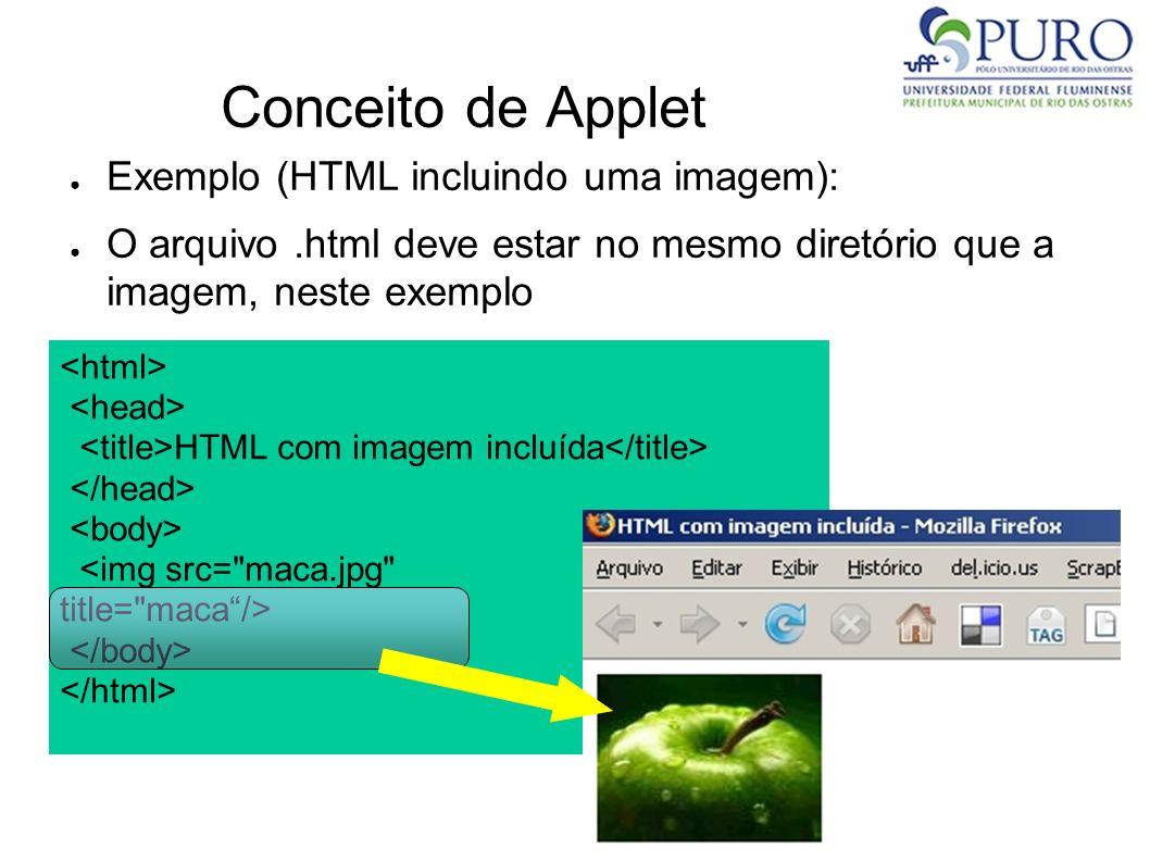 Conceito de Applet Exemplo (HTML incluindo uma imagem): O arquivo.html deve estar no mesmo diretório que a imagem, neste exemplo HTML com imagem inclu