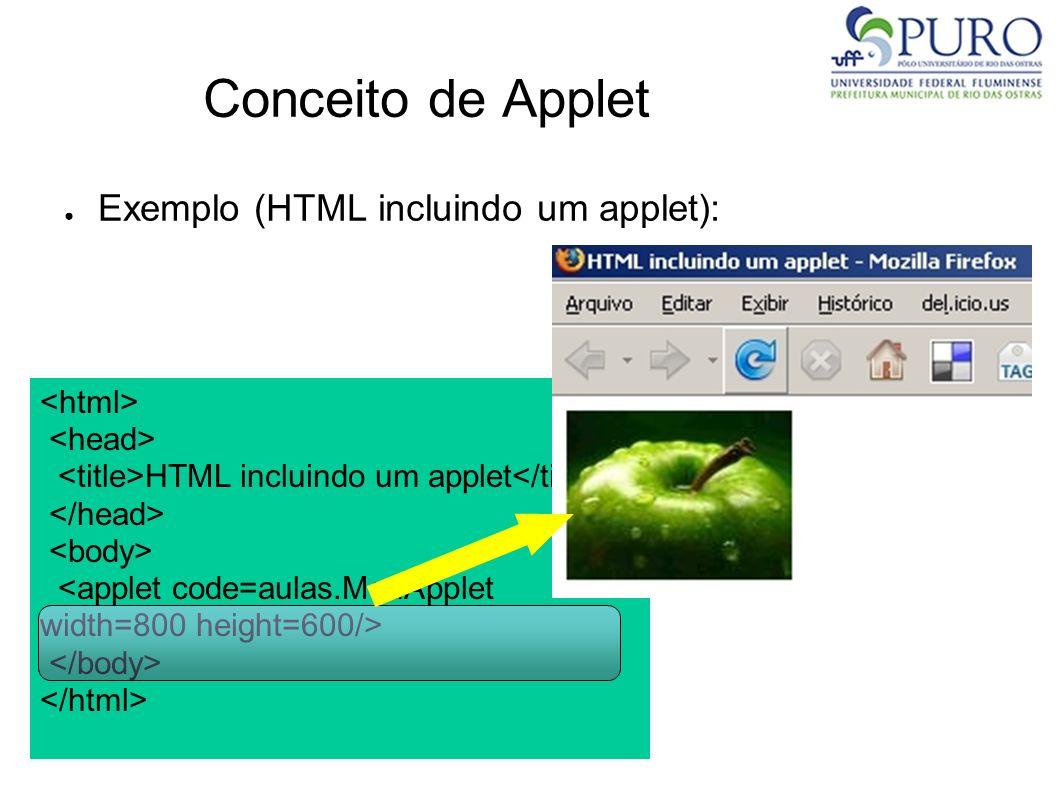 Conceito de Applet Exemplo (HTML incluindo um applet): HTML incluindo um applet