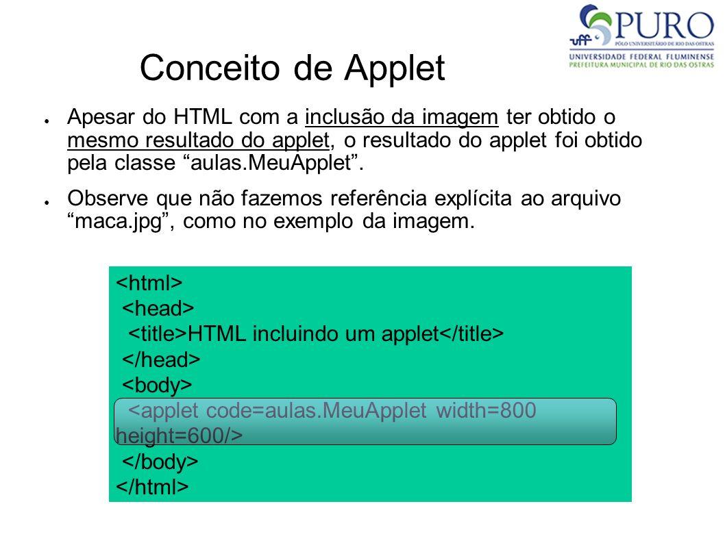 Conceito de Applet Apesar do HTML com a inclusão da imagem ter obtido o mesmo resultado do applet, o resultado do applet foi obtido pela classe aulas.