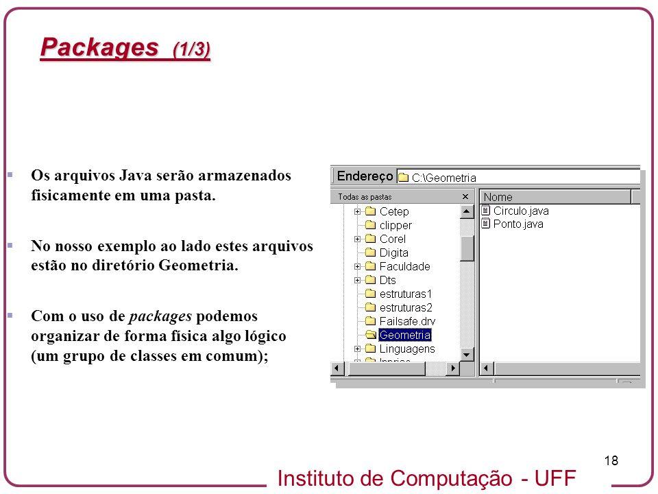 Instituto de Computação - UFF 18 Packages (1/3) Os arquivos Java serão armazenados fisicamente em uma pasta. No nosso exemplo ao lado estes arquivos e