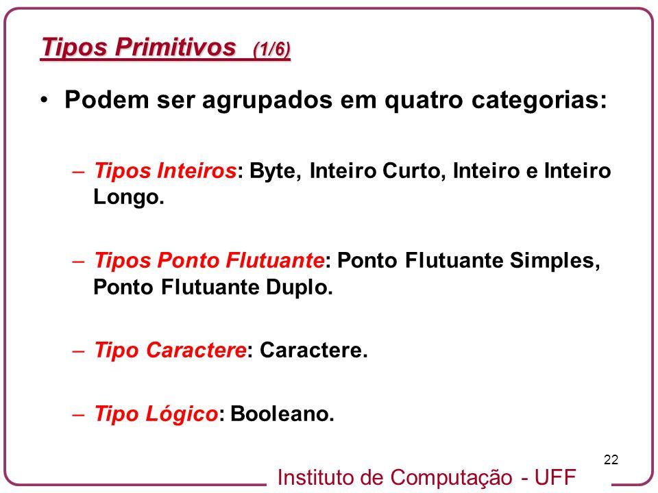 Instituto de Computação - UFF 22 Tipos Primitivos (1/6) Podem ser agrupados em quatro categorias: –Tipos Inteiros: Byte, Inteiro Curto, Inteiro e Inte