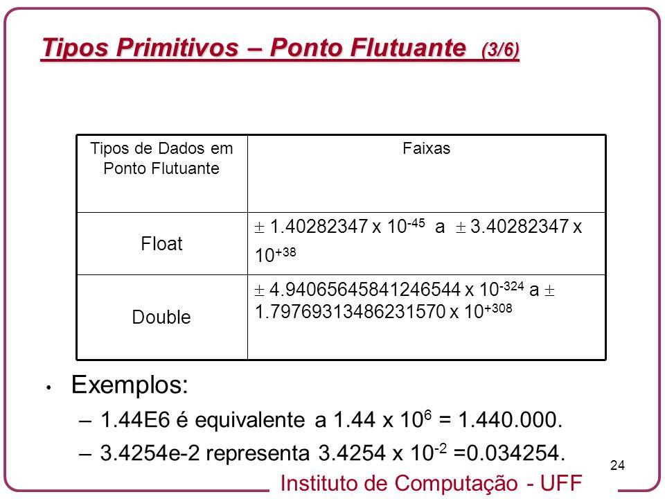 Instituto de Computação - UFF 24 Tipos Primitivos – Ponto Flutuante (3/6) Exemplos: –1.44E6 é equivalente a 1.44 x 10 6 = 1.440.000. –3.4254e-2 repres