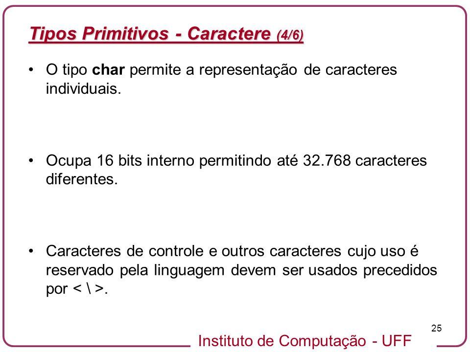 Instituto de Computação - UFF 25 Tipos Primitivos - Caractere (4/6) O tipo char permite a representação de caracteres individuais. Ocupa 16 bits inter