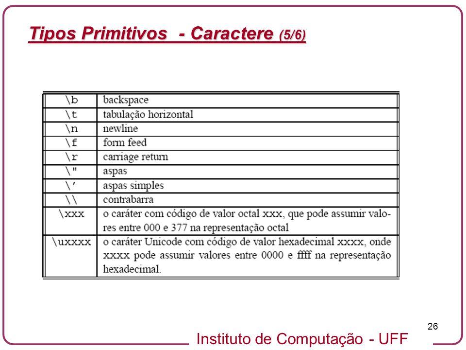Instituto de Computação - UFF 26 Tipos Primitivos - Caractere (5/6)