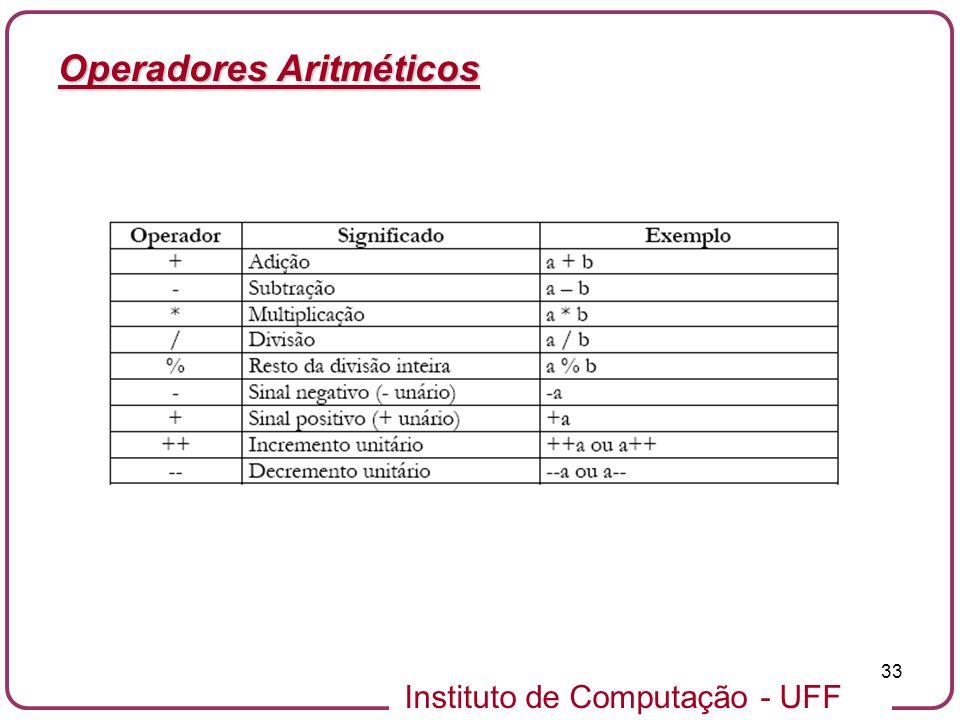Instituto de Computação - UFF 33 Operadores Aritméticos