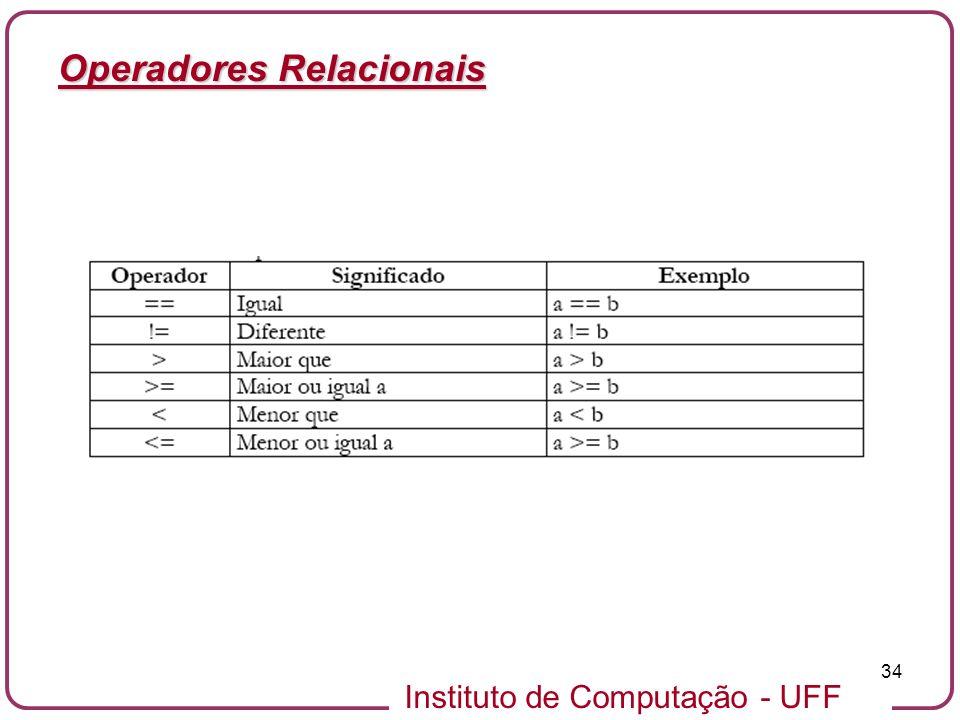 Instituto de Computação - UFF 34 Operadores Relacionais
