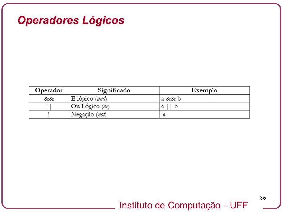 Instituto de Computação - UFF 35 Operadores Lógicos