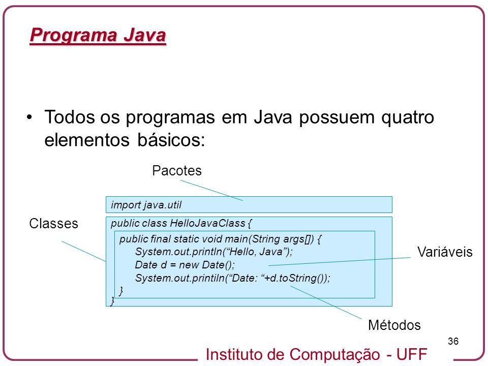 Instituto de Computação - UFF 36 Programa Java Todos os programas em Java possuem quatro elementos básicos: public class HelloJavaClass { } public fin