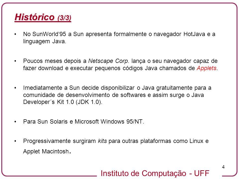 Instituto de Computação - UFF 4 Histórico (3/3) No SunWorld95 a Sun apresenta formalmente o navegador HotJava e a linguagem Java. Poucos meses depois