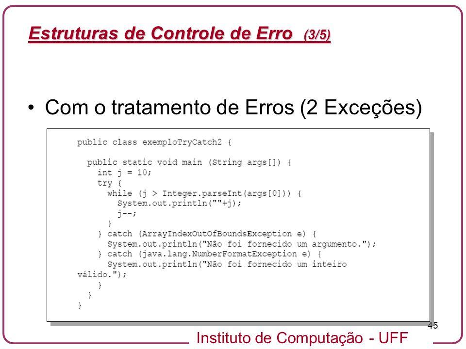 Instituto de Computação - UFF 45 Estruturas de Controle de Erro (3/5) Com o tratamento de Erros (2 Exceções)