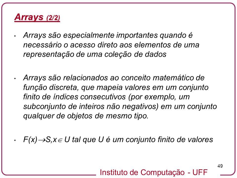 Instituto de Computação - UFF 49 Arrays (2/2) Arrays são especialmente importantes quando é necessário o acesso direto aos elementos de uma representa