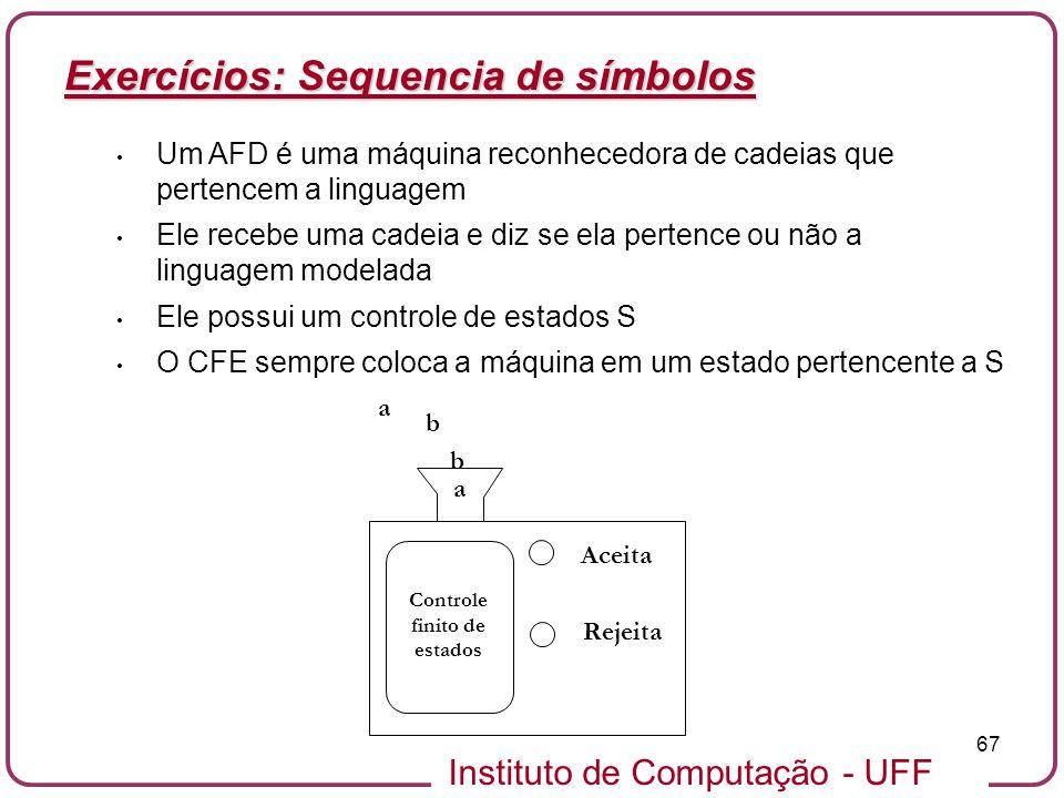 Instituto de Computação - UFF 67 Exercícios: Sequencia de símbolos Um AFD é uma máquina reconhecedora de cadeias que pertencem a linguagem Ele recebe