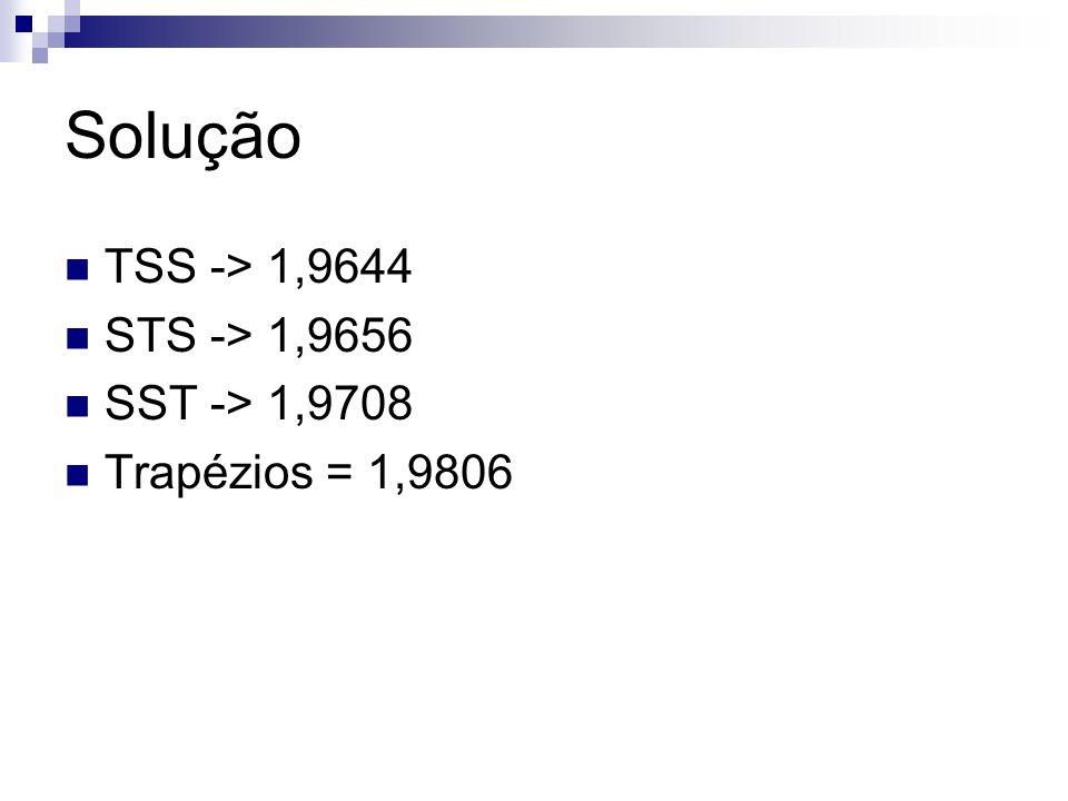 Solução TSS -> 1,9644 STS -> 1,9656 SST -> 1,9708 Trapézios = 1,9806